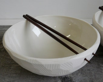 Large Porcelain Noodle Bowl, with Chopstick Rest, Chopsticks Included