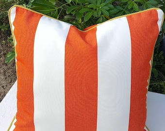 Sunbrella Cabana Flame Stripes Indoor Outdoor Square Lumbar Bolster Pillow Cover with Hidden Zipper