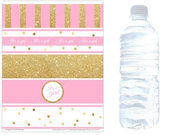 Baby shower water bottle labels (INSTANT DOWNLOAD) - Baby shower water labels - Pink and gold baby shower decorations BA002G