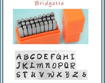 "NEW - Basic BRIDGETTE - UPPERcase Handwriting font by ImpressArt - 1/8"" (3MM) size - includes tutorial for how to stamp metal"