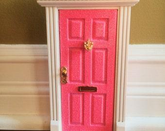 NEW Handmade Magical Neon Pink glitter fairy door