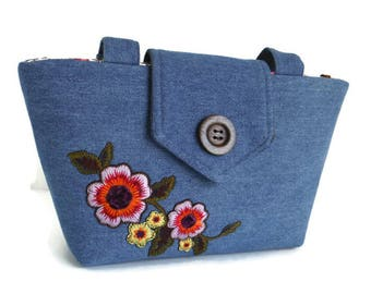 SALE - Flower Embroidery - Floral Patch - Denim Wayfarer Purse -Shoulder Bag - Vegan