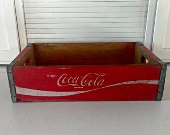 Vintage Coca Cola Crate Red Wooden Box 1970s Chattanooga Coke Collectibles Retro Garden Decor Container Plant Box Advertising Memorabilia