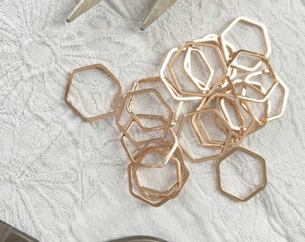"""Rose Gold-Plated Hexagon Stitch Markers Snag-less Large  