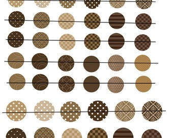 """Digital images """"No. 1"""" round glossy brown 20 and 25mm"""
