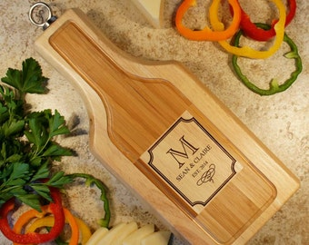 Designs Wine Shaped Personalized Cheese Board Tool Set with Monogram Design Options and Font Selection (Each)