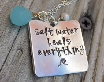 Salt Water Heals Everything Necklace, Beach Necklace, Beach Jewelry, inspirational jewelry, natashaaloha
