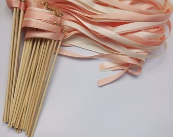 Pack of 50 x Gold, Pink, Rose Gold Wedding Sparklers - Wedding Lace Ribbon Sparklers - Wedding ribbon wands - Party Supplies - Sparklers
