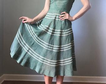 vintage 50s SHIRLEY LEE dress | full skirt swing dress | 1950s sundress