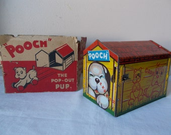 Tin Litho Toy Pop-Out Pup Pooch