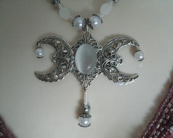 Collar de piedra lunar Triple Luna diosa, Wicca joyería joyería pagana wicca diosa joyería bruja brujería metafísica handfasting