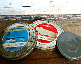 vintage 3 movie canisters  Fuji and Compco,  movie reel tins, film collectible, vintage film cans