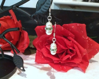 Traditional Sage and White Double Glass Pearl Earrings Bridesmaid Flower Girl Wedding Bridal Jewelry