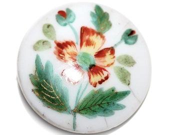 Button - Porcelain Hand Painted Flowers  - Medium