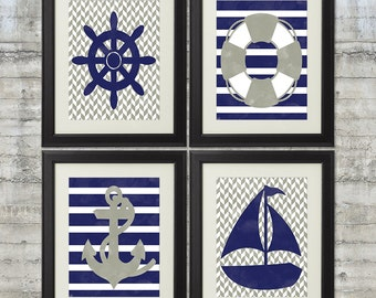 Nautical Nursery Art Printables in Gray and Navy, Set of 4 - 8x10 Printable Posters