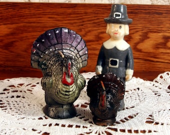 Gurley candle set-2 turkeys and a one-eyed pilgrim-gray Thanksgiving-vintage holiday decor