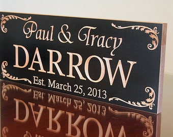 Personalized Last Name Wood Sign, Wood Established Sign, Carved Wooden Sign, Custom Date Sign, Benchmark Signs, Benchmark Signs, Maple DD
