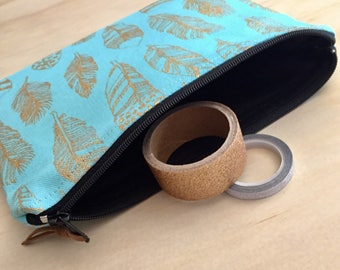 Teal & gold feather zippered pouch / clutch / pencil case