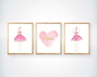 Ballerina Wall Art, Set of 3 - 8x10, Ballerina Art, Girls Ballet, Girls Ballet Print, Ballet Nursery, Ballerina Decor, Ballerina Watercolor,