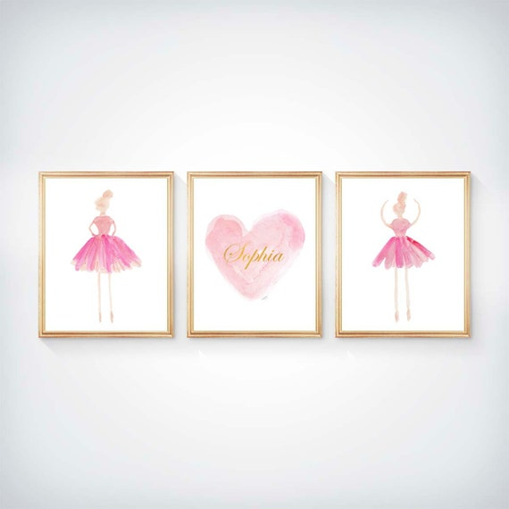 Ballet Nursery in Pink and Gold, Set of 3 - 8x10 Personalized Prints