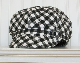 Womens Newsboy Hat, Black and White Cotton Check, Womens Hat, Newsboy Cap