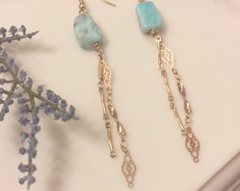 Blue Stone Gold Chain Earrings