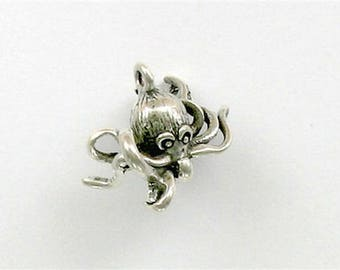 Sterling Silver 3-D Octopus Charm