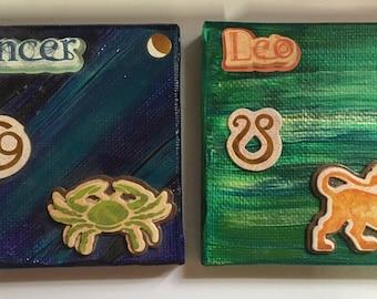 3x3 canvas Zodiac Cancer Leo paint canvas stickers