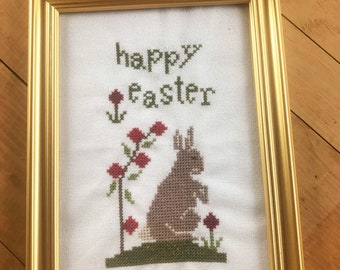 Framed Primitive Happy Easter Bunny Cross Stitch Linen Picture
