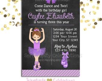 Ballerina Birthday Chalkboard Invitation, Baby Shower Invitation, Birthday Invite, Ballet Recital Invite, Purple Ballerina Ballet, Ballerina
