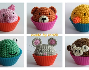 Dutch crochet pattern: mini animal cupcakes