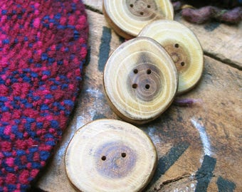 004 Four natural, laburnum anagiyroides wood buttons handmade, one of a kind.