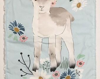 Lamb Mini Snuggle Lovey; blankie; minky; newborn