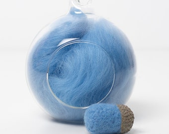 Merino Felting Wool- Wool Roving-Wool Tops -Colour Blue 05 -10grams