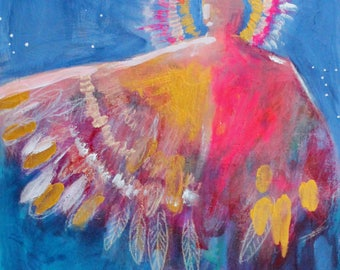 """Small Angel Painting, Abstract Figure, Colorful Spiritual """"Fire SIgn"""" 8x10"""""""