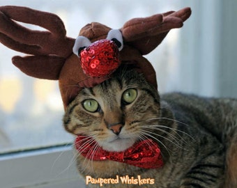 Reindeer Antlers for cats and dogs /Rudolph the red nosed reindeer hat for cats and dogs