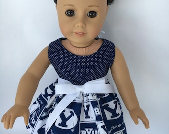 18 inch doll dress,doll dress made of BYU fabric, BYU Thuderbirds doll dress, made to fit 18 inch dolls such as American Girl and others