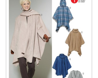 Ponchos or Coat Pattern with Hood Variations - McCall's 6209 Size: XS ( 4/6) -S (8/10) -M (12/14) or L (16/18) -XL (20/22) -XXL (24/26)