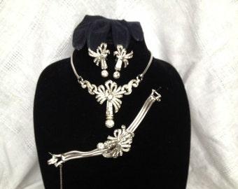 Vintage Mazer Bros. rhinestone necklace, bracelet and earrings
