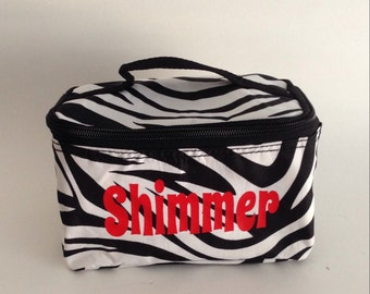 personalized cosmetic makeup bag zebra brushes bathroom bridesmaid gift cheer team