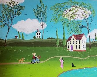 "Summer Day. Original acrylic on 12"" x 16"" x 3/4"" gallery wrap canvas"