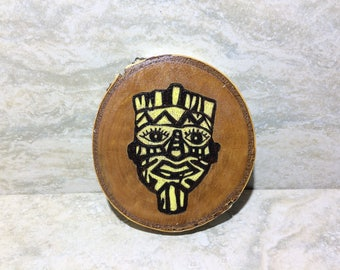 Tribal Mask on White Birch