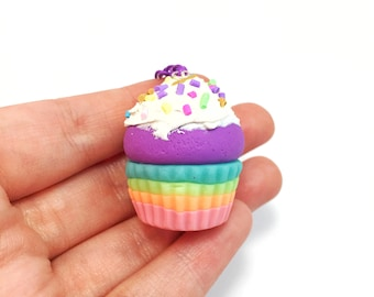 Rainbow Cupcake Necklace - Cupcake Necklace - Mini Cupcake - Cupcake Charm - Cupcake Jewelry - Clay Cupcake - Glow In The Dark Necklace -