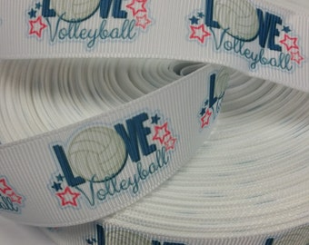 1 inch   - Love VOLLEYBALL on White Sports -   Printed Grosgrain Ribbon for Hair Bow