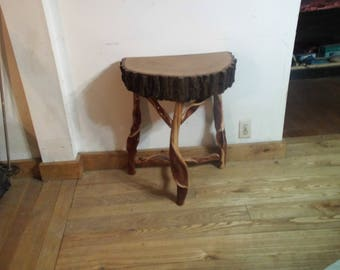 half-round rustic table/end table