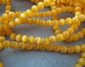 Yellow Cat's Eye Round 4mm Beads 105pcs