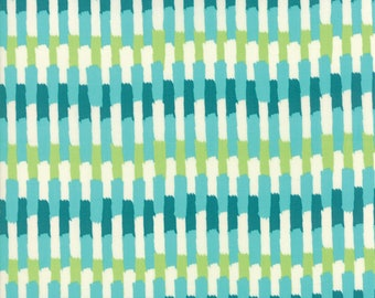 Painted Garden - Turquoise - Painted Garden Collection - Crystal Manning - Moda Fabrics - 11814 16 - Stripes