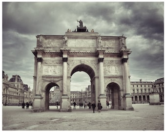 Paris France Photograph -8 x 10 Parisian Architect-Home-Louvre Musee-DecorTravel France Architecture- Archway To Louvre-Fine Art Paris Photo
