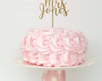 Future mrs cake topper, bachelorette party cake topper, engagement cake topper, gold cake topper, engagement party cake topper