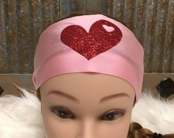 Pink Valentine Running Headband, Workout Headband, Valentine Headband, Boho Headband, Fitness Headband, Yoga Headband